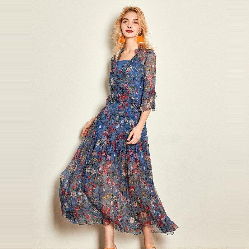 nouveau produit c3213 61b05 Sexy Femmes Floral Robe Chemise Bohème Robes Romantique Bleu ...