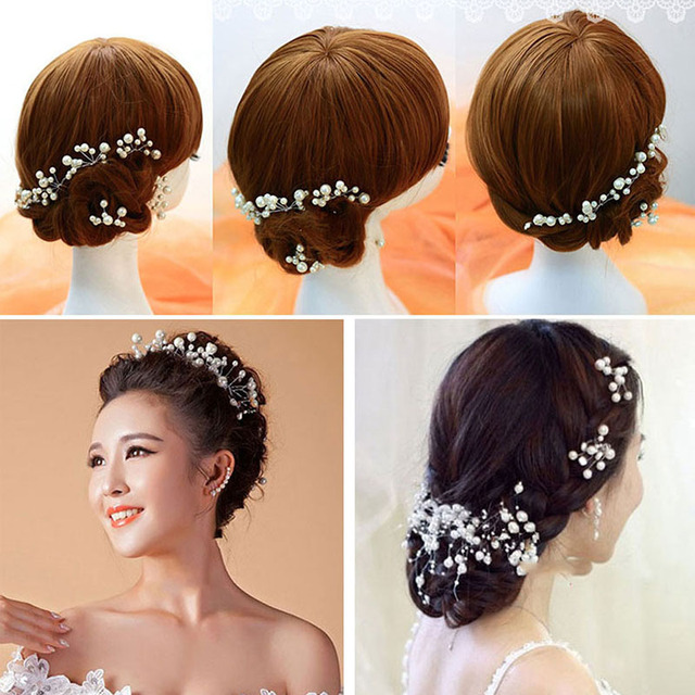 Women Pearl Flower Hairband Wedding Bride Tiaras Crown Length Headband