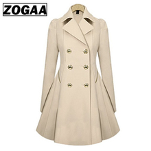 ZOGAA Plus Size Women Trench Coat Autumn Fashion Women's Double Breasted Windbreaker Coats Causal Ladies Long Trench Coat Female все цены