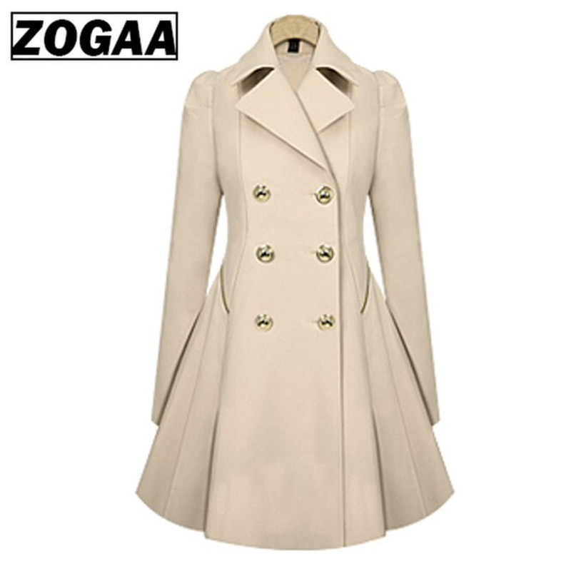 ZOGAA Plus Size Women   Trench   Coat Autumn Fashion Women's Double Breasted Windbreaker Coats Causal Ladies Long   Trench   Coat Female