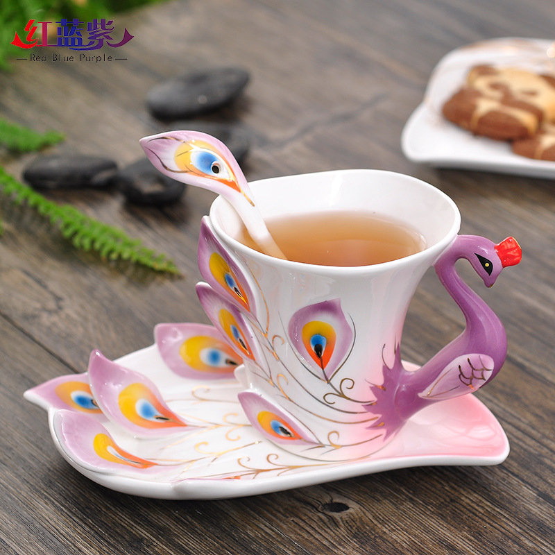 Enamel Porcelain Furnishing Peacock Cup Traditional Chinese Animal Creative Crafts Dish Wedding Decoration Ceramic Coffee Set