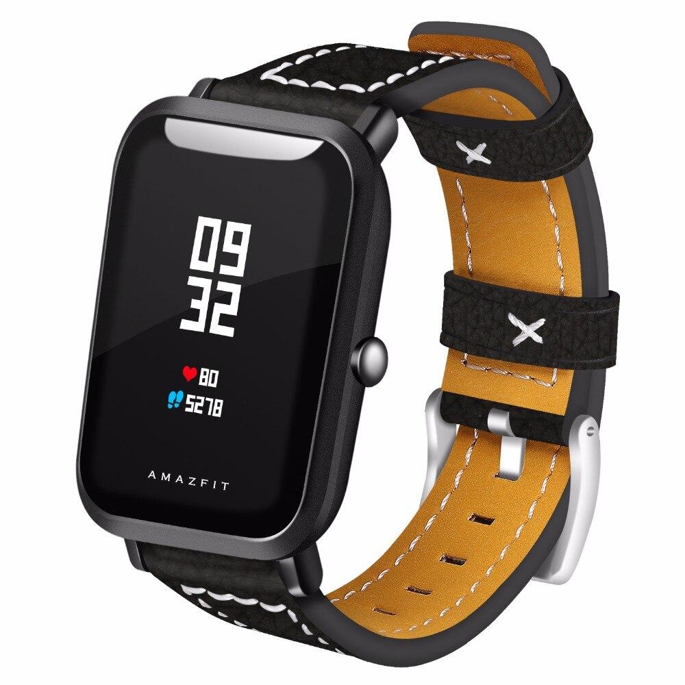 Bandes de Cuir véritable pour Xiaomi Huami Amazfit Bip PEU RYTHME Lite Jeunes Montre Smart Watch Mi Fit braceket
