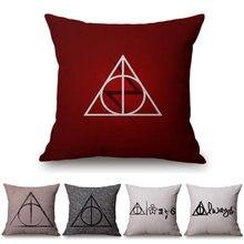 9f0c0b1907dd Trójkąt Drukarnie Czerwony Geometria Poszewka na Poduszkę Poszewka Home  Decor Harry Potter Znaki Dla Sofa Biuro