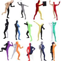 New Women Men Lycra Two Tone Spandex Solid Zentai Party Sport Full Hood Body Skin Suit Jumpsuit Costume