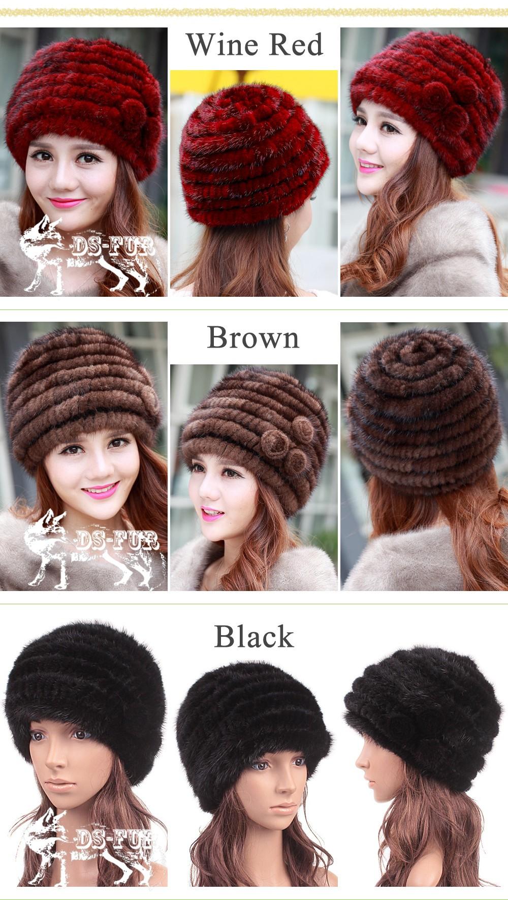 Knitted mink fur hat Flower 01