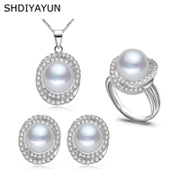 SHDIYAYUN 2019 Pearl Jewelry Sets Natural Freshwater Pearls Big Zircon Necklace Earrings Ring 925 Sterling Silver For Women Gift