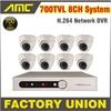 700TVL 8pcs Sony CCD Cctv System Day Night Dome Camera 8Channel Video Surveillance CCTV 8 Channel