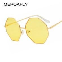 a8f80e3dc1884 Polígono MEROAFLY Grande Do Vintage Óculos De Sol Femininos 2019 Octagon  Tinted óculos de Sol para Mulheres Dos Homens do Metal .