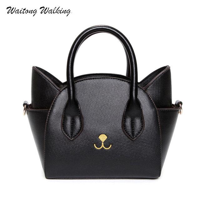 Luxury Women Bags Leather Cat Handbag Trapeze Tote Shoulder Bag Messenge  Crossbody Ladies Brand Bags 2018 Bolsa Feminina b225 d5031f3df115