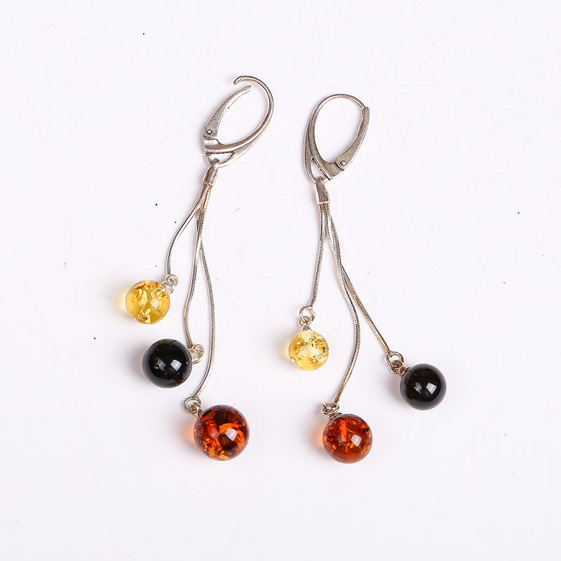 Special 925 sterling silver inlaid pure natural Amber flower Perot blood Perkin gold earrings fidelity genu factory outlet amber earrings for women blood po earrings sterling silver egg shaped amber factory price authentic fidelity page 1