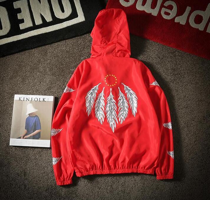 yizlo jackets feather print anorak jacket windbreaker streetwear hip hop waterproof wind breaker rash guards jaqueta