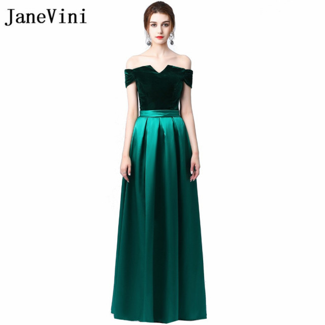 JaneVini Elegant Dark Green Long Bridesmaid Dresses Velvet Top Satin Skirt  Off Shoulder Wedding Guest Dress Party Formal Gowns 9d81e2ea4d68