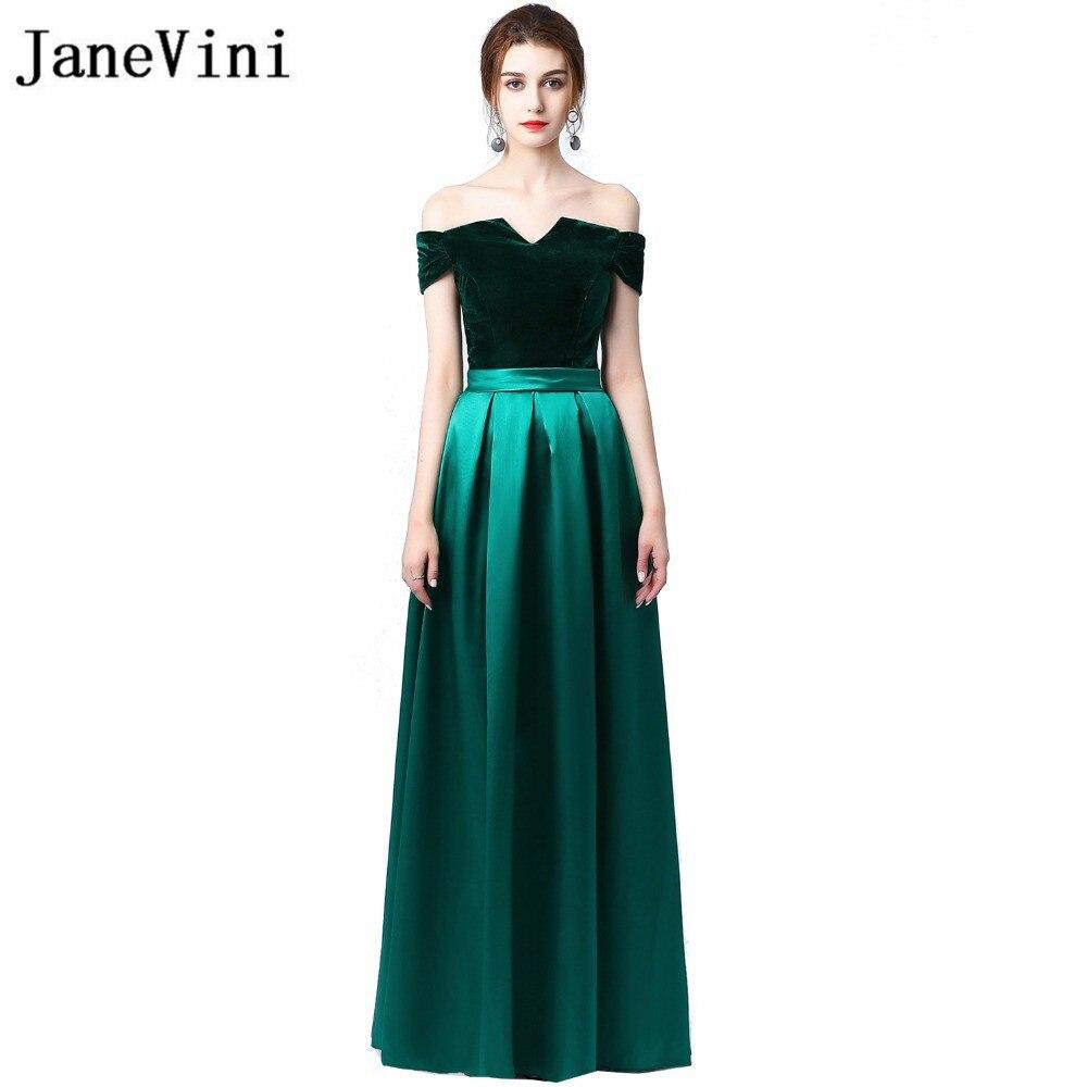 JaneVini Elegant Dark Green Long   Bridesmaid     Dresses   Velvet Top Satin Skirt Off Shoulder Wedding Guest   Dress   Party Formal Gowns