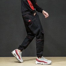 Japanese Style High Street Fashion Men Jogger Jeans Black Color Spliced Punk Cargo Pants Hip Hop Jeans Stretch Pencil Pants Men