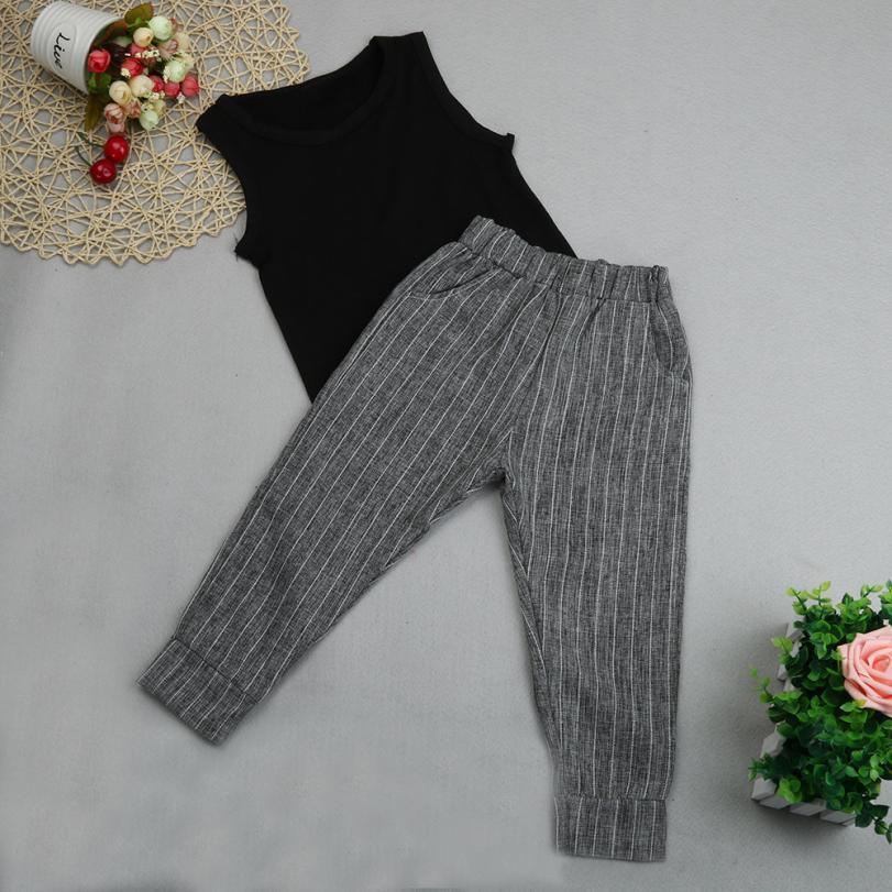 girl set pants summer 2PCS Baby Kids Girl Sleeveless Vest Tops T-shirt+Harem Pants Outfits Clothes Set ropa de nina size 3-7year 1