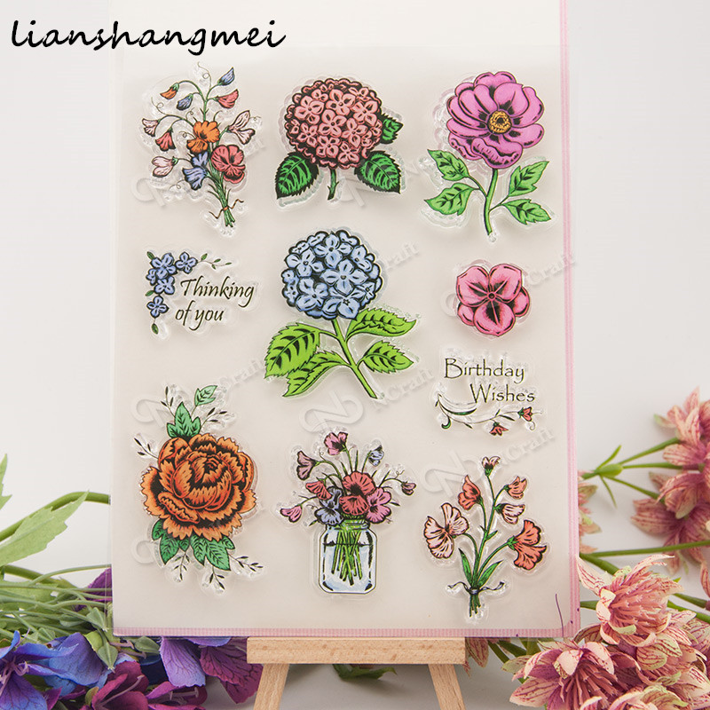 Flowers Transparent Clear Silicone Stamp/Seal for DIY scrapbooking/photo album Decorative clear stamp v99 angel and trees clear stamp variety of styles clear stamp for diy scrapbooking photo album wedding gift ll 163