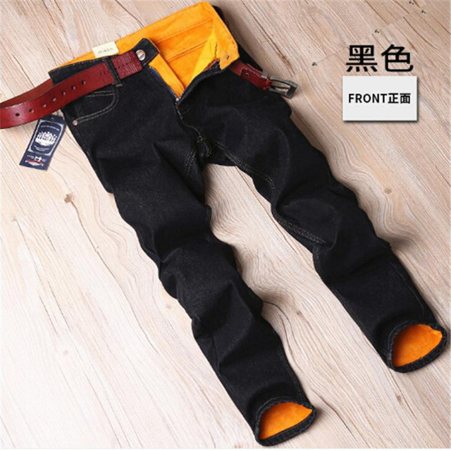 Mens Winter Flannel Thicken Stretch Dark Blue Denim Jeans Warm Fleece Jean Pants Trousers