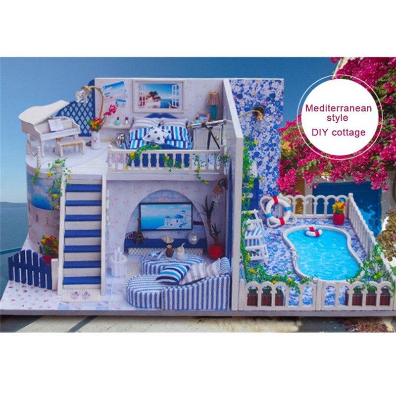 Bricolage maison Miniature avec meubles couverture de poussière enfants poupée cabine jouets enfants Puzzle jouet bébé anniversaire créativité cadeaux chambre décor
