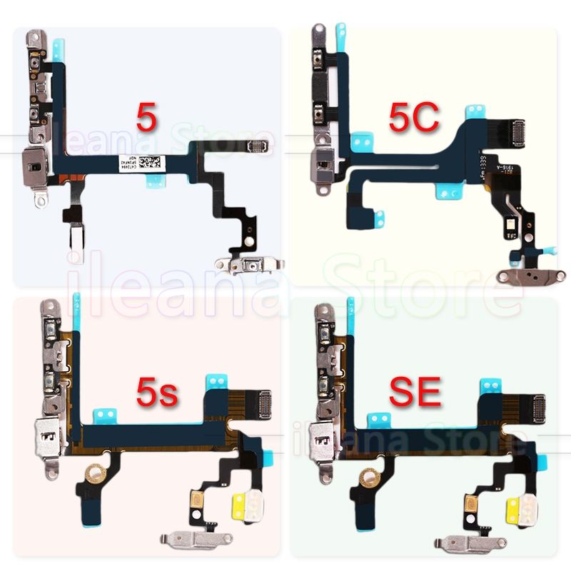 Original For IPhone 5 5C Mute Button Volume Power Flex Cable With Metal Holder For IPhone 5S SE Repair Part