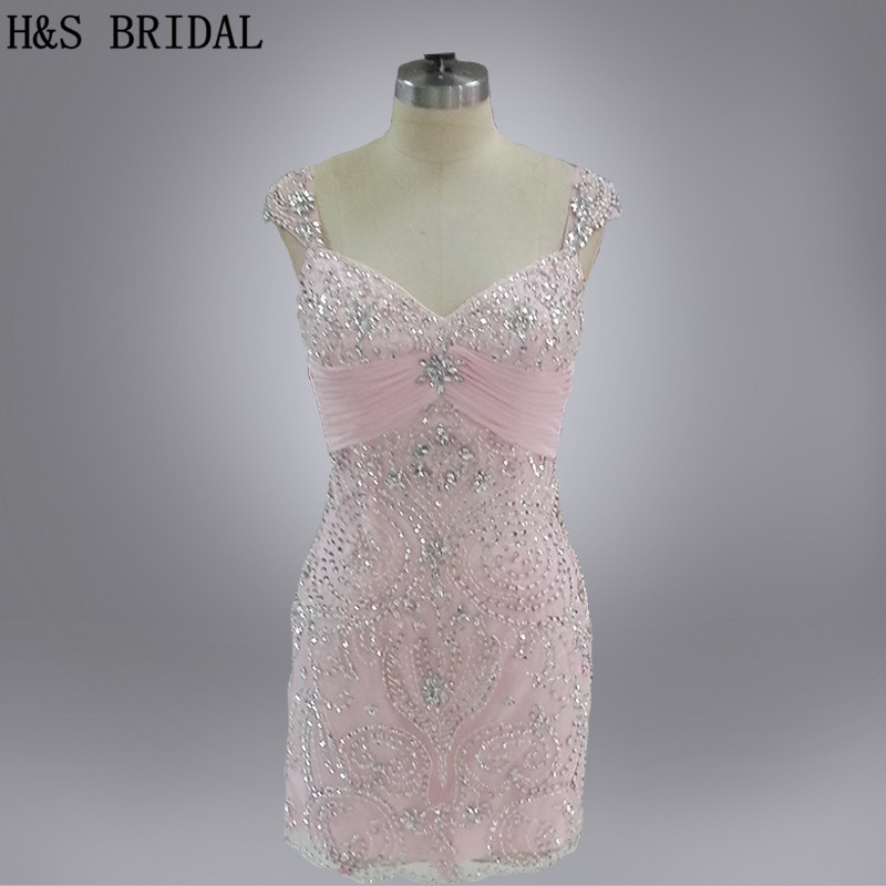 H&S BRIDAL Real Photo Two straps crystal beaded party   dress   V Neck shinny   cocktail     dress