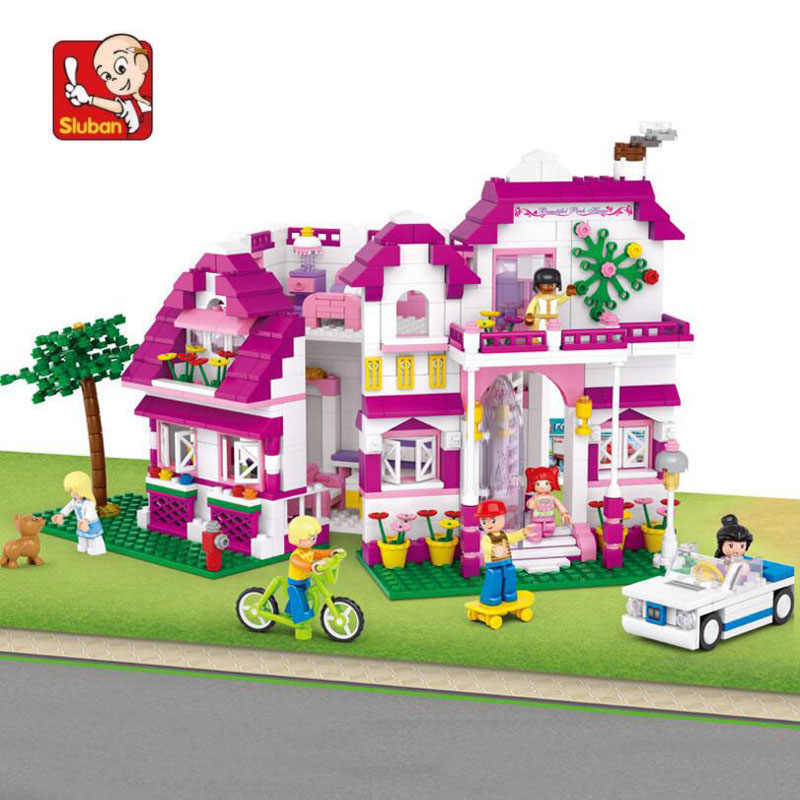 762 piece baby play house blocks plastic Model Building Kits Legoed pink style building blocks for girls more than 6 years N0536