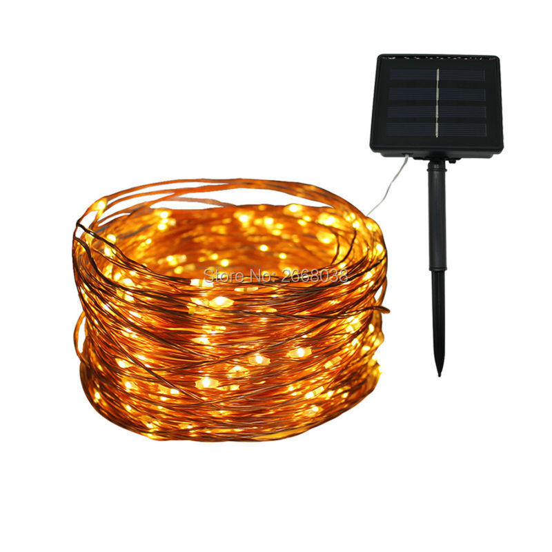 Solar powered led fairy string lights 20m 200 led copper for Outdoor decorative lights