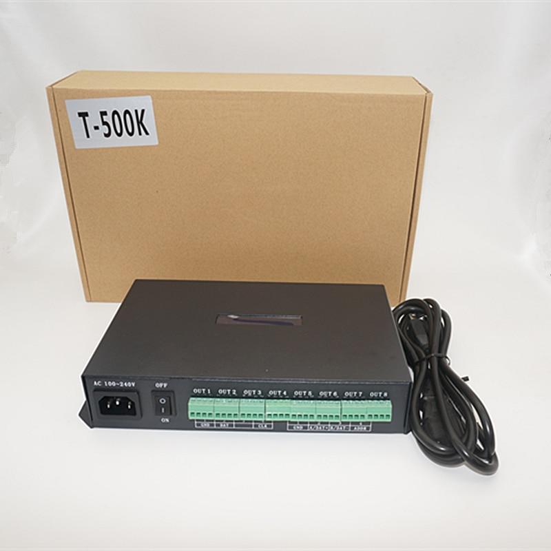 T500K led de contrôle ordinateur en ligne TTL signal rvb polychrome WS2801 WS2811 6812 8806 APA102 led pixel module contrôleur 8 ports
