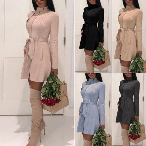 New Fashion Women Warm Winter Suede Adjustable Waist Trench Coat Long Sleeves Zipper Outwear Tops High Waist Clothes