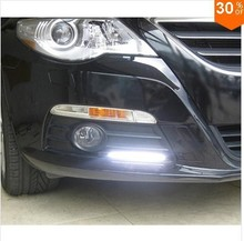 Ultra Bright 12V 12W Daytime Running Lights 14cm Length Daylight COB Car LED DRL Day time lamp Waterproof Silver Frame 2pcs/pair
