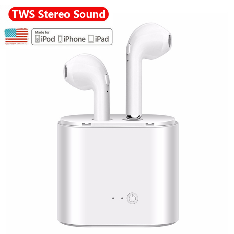 Double Ear Bluetooth Earphone Hands free mini Air pods Earpieces i7S tws Handsfree Wireless Headphones for phone iPhone Android