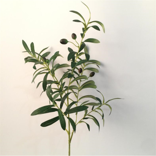 one artificial olive leaf bunch fake green plant olive plastic