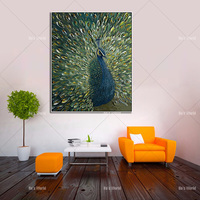 best handmade Peacock Canvas oil Painting Wall Picture home Decoration knife Peacock Oil Painting for Living Room office decor