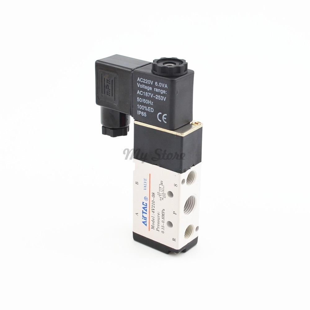 Pneumatic 5 Way 2 Position Air Directional Control Solenoid Valve 4V210-08 DC12V DC24V AC110V AC220V dc 12v 3w 2 positions 5 way magnetic solenoid valve 4v210 08