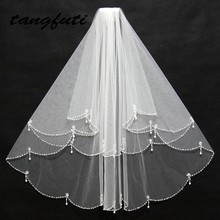 Short Bridal Veils Tulle Pearls Bead Edge Two Layers White Ivory Wedding Accessories Handmade  2017 New