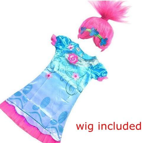 Dropshipping New Summer Carnival Costume Trolls font b Dress b font For Kids Poppy Lace font