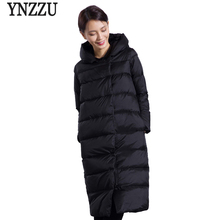 YNZZU 2018 Winter Jacket Women Big Size Solid Thick Warm Hooded Duck Down Coats Long Style Windproof Korean Casual Overcoat O605