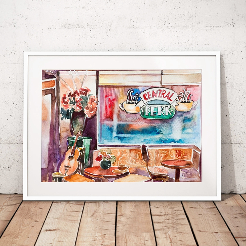 Friends TV Show Canvas Painting Wall Art Prints , Watercolor Central Perk Pictures Friends TV Show Poster Home Decor