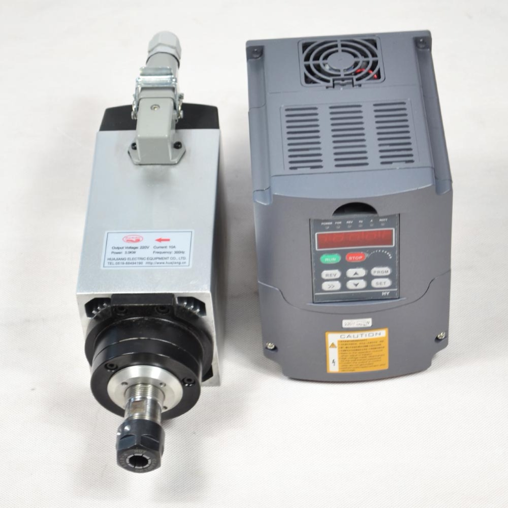 CNC spindle air cooled 4KW MOTOR SPINDLE 4 bearings for milling machine & matching frequency inverter motor speed controller vfd high quality ceramic bearings 3 5kw 380v air cooled spindle motor er20 and 4kw vfd inverter
