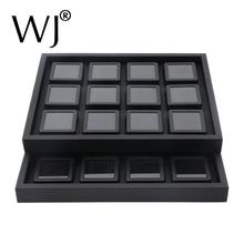 Luxury Gemstone Diamond Display Storage Box Tray Black PU Leather Organizer Stone Case Jewelry Holder Beads Container Ramp Kits