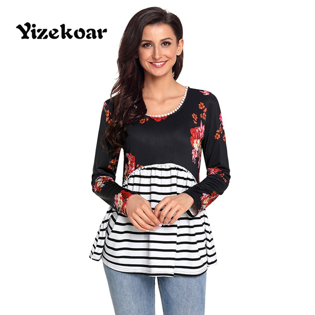 0f66ba0a8b Yizekoar 2018 New Arrival Autumn Women s Casual O-Neck Black White Navy Blue  Floral Striped Babydoll Tunic Tops