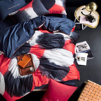 Fashion color egyptian cotton Bedding set King Queen size Bed set Duvet cover Bedsheet Pillowcases