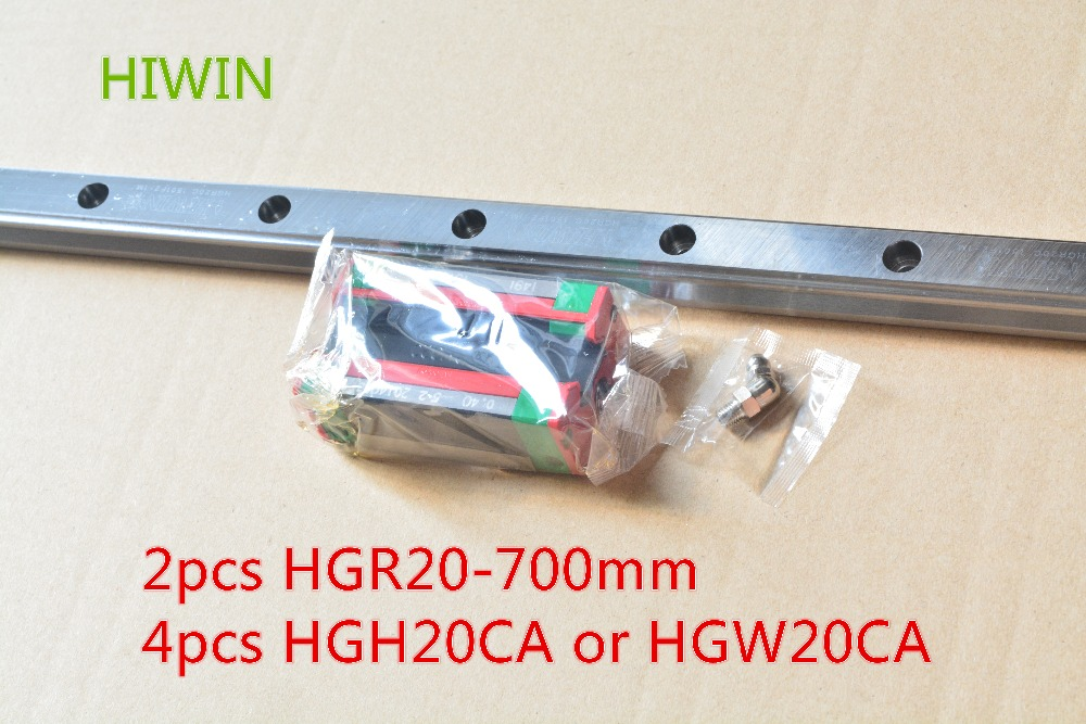 HIWIN Taiwan made 2pcs HGR20 L 700 mm 20 mm linear guide rail with 4pcs HGH20CA or HGW20CA narrow sliding block cnc part 2pcs taiwan hiwin rail hgr20 400mm linear guide 4pcs hgh20ca carriage cnc parts made in mainland china
