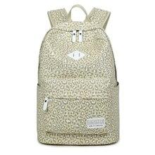 2017, Новая мода с леопардовым принтом женская сумка Водонепроницаемый холст леди ноутбук Рюкзаки Женский Повседневная сумка