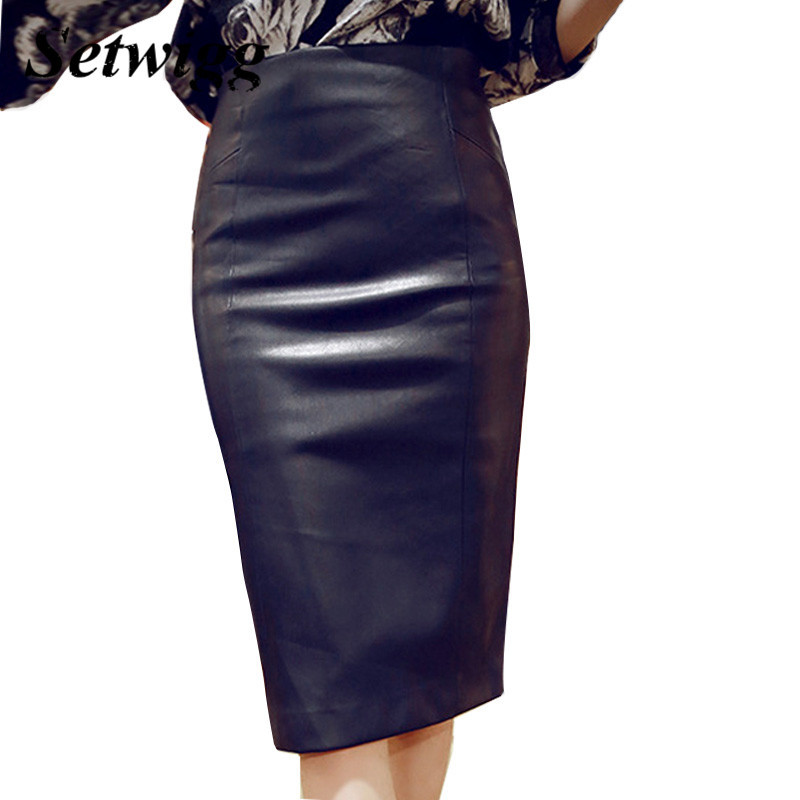 High-Quality-PU-Leather-Pencil-Skirts-Empire-Waisted-Zipper-Vintage-Spring-Black-Faux-Synthetic-Leather-Bodycon (1)