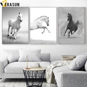 Image 1 - أسود أبيض الحصان المشهد الرسم على لوحات القماش الجدارية الشمال الملصقات و يطبع الحيوان جدار صور لغرفة المعيشة ديكور المنزل