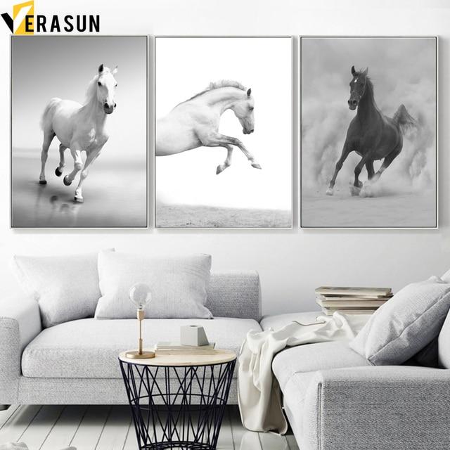 أسود أبيض الحصان المشهد الرسم على لوحات القماش الجدارية الشمال الملصقات و يطبع الحيوان جدار صور لغرفة المعيشة ديكور المنزل