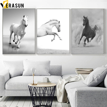Cuadro sobre lienzo para pared carteles nórdicos e impresiones de paisaje de caballo blanco y negro, mosaico para pared de animales para sala de estar, decoración del hogar