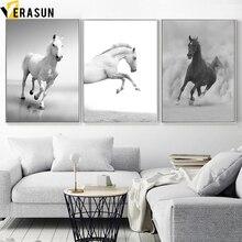 Noir blanc cheval paysage mur Art toile peinture nordique affiches et impressions animaux mur photos pour salon décor à la maison