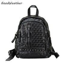 Натуральная кожа женщины рюкзак дизайнер вязание заклепки мешок моды черный овчины большой емкости дамы молния туристические рюкзаки