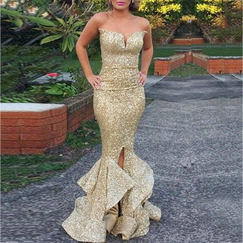 Sexy Sweetheart Mermaid   Bridesmaid     Dresses   Gold Sequined Ruffles Long Prom   Dress   2018 Wedding Party Gowns Maid of Honor   Dress